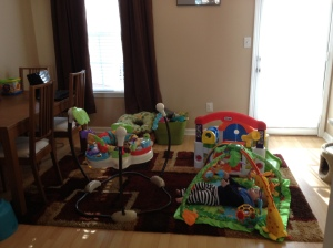 Our new dining room. Dinner guests can fight over the jumperoo.