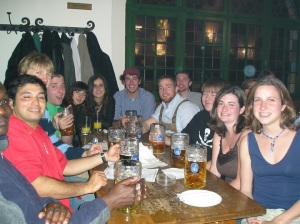 At Hofbrauhaus in Munich in May 2005. Cecile is farthest right, next to me.