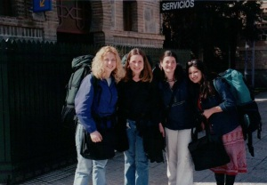 "Spring Break Madrid March 2001 with Sara, Cecile, me and Asma. Home of the famous quote, ""SHUT UP! SHUT UP! NOBODY TALK!"""