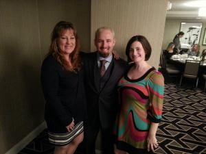 With Wendi and Chris Hawkey of the band Rocket Club, emcee for the awards ceremony.