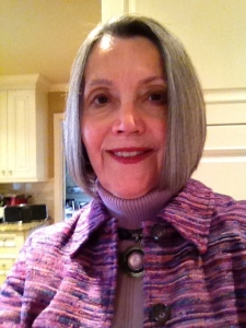 My mom rocking the layered purple look.