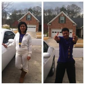 Sondra and Jareyl rocked some mother/son purple.