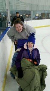 Andrea and Ricka ice skating.