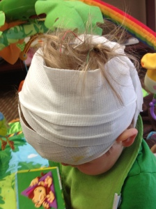That's cute that you big people think you can keep my head wrapped in gauze for an entire day.
