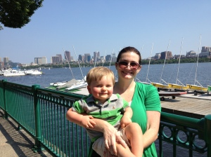 We watched Harvard's sailing practice on the Charles River.