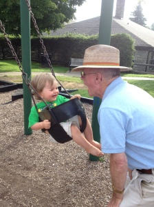 Swinging with Grandpa in Blowing Rock.