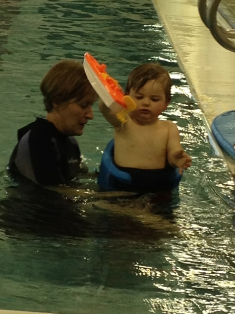Grandma and Grandpa took Connor to aquatic therapy while we were gone.