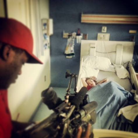 Interviewing with CBS 46 about their impending move after Victoria was admitted to the hospital.